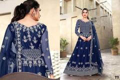 Royal Blue color Net Fabric Full Sleeves Floor Length Embroidered Gown
