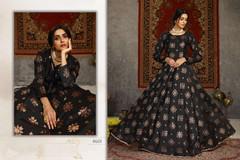 Black color Floor Length Full Sleeves Taffeta Fabric Gown