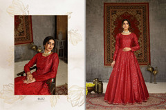 Red color Floor Length Full Sleeves Taffeta Fabric Gown