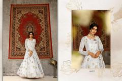 White color Floor Length Full Sleeves Taffeta Fabric Gown