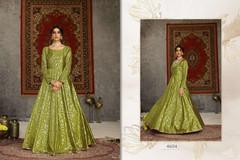 Green color Floor Length Full Sleeves Taffeta Fabric Gown