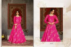 Magenta color Floor Length Full Sleeves Taffeta Fabric Gown