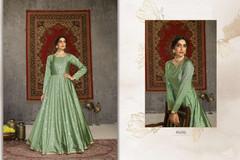Light Green color Floor Length Full Sleeves Taffeta Fabric Gown