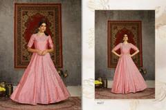 Pink color Floor Length Taffeta Fabric Gown