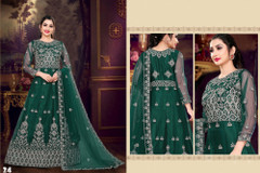 Green color Net Fabric Floor Length Full Sleeves Embroidered Gown