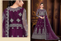 Purple color Net Fabric Floor Length Full Sleeves Embroidered Gown