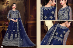 Royal Blue color Net Fabric Floor Length Full Sleeves Embroidered Gown