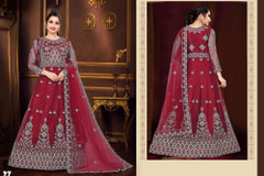 Red color Net Fabric Floor Length Full Sleeves Embroidered Gown