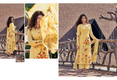 Yellow color Cotton Cambric Fabric Printed Suit