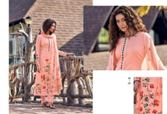 Pink color Cotton Cambric Fabric Printed Suit