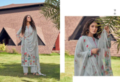 Grey color Cotton Cambric Fabric Printed Suit