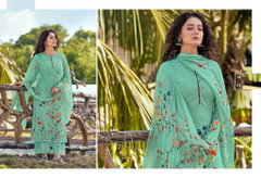 Green color Cotton Cambric Fabric Printed Suit