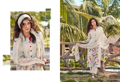 White color Cotton Cambric Fabric Printed Suit