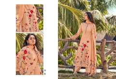 Peach color Cotton Cambric Fabric Printed Suit