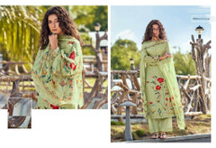 Olive Green color Cotton Cambric Fabric Printed Suit