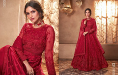 Red color Net Fabric Full Sleeves Floor Length Anarkali style Suit