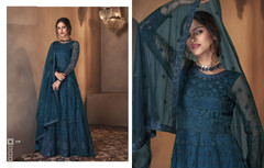Royal Blue color Net Fabric Full Sleeves Floor Length Anarkali style Suit