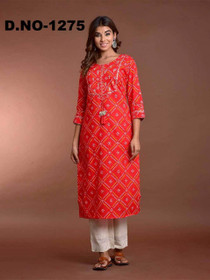 Red and White color Rayon Fabric Top and Bottom