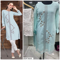 Light Blue and White color Pure Georgette Fabric Top and Bottom