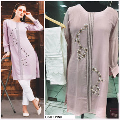 Light Pink and White color Pure Georgette Fabric Top and Bottom