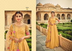 Yellow color Georgette Fabric Floor Length Anarkali style Suit
