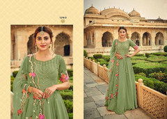 Green color Georgette Fabric Floor Length Anarkali style Suit