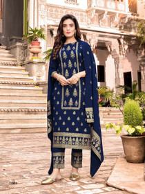 Royal Blue color Heavy Rayon Fabric Top and Bottom