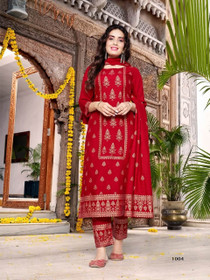 Red color Heavy Rayon Fabric Top and Bottom