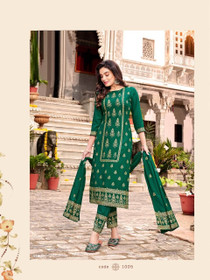 Green color Heavy Rayon Fabric Top and Bottom