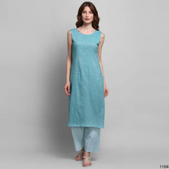 Blue color Cut Sleeves Cotton Fabric Top and Bottom