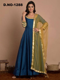 Blue color Art Silk Fabric Top and Bottom Suit
