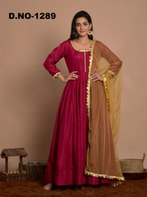 Magenta color Art Silk Fabric Top and Bottom Suit