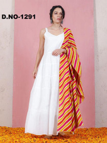 White color Rayon Fabric Top and Bottom Suit
