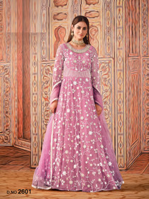 Pink color Net Fabric Full Sleeves Floor Length Anarkali style Party Wear Suit