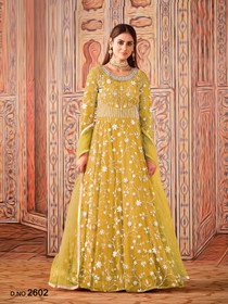Yellow color Net Fabric Full Sleeves Floor Length Anarkali style Party Wear Suit