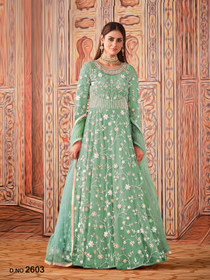 Blue color Net Fabric Full Sleeves Floor Length Anarkali style Party Wear Suit