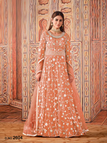 Peach color Net Fabric Full Sleeves Floor Length Anarkali style Party Wear Suit