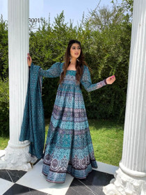 Blue color Net Fabric Full Sleeves Floor Length Chanderi Fabric Gown