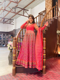 Red color Net Fabric Full Sleeves Floor Length Chanderi Fabric Gown
