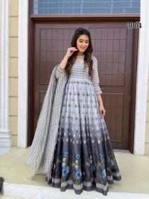 Grey and Black color Net Fabric Full Sleeves Floor Length Chanderi Fabric Gown