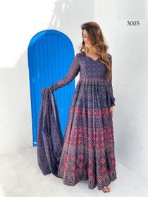 Royal Blue color Net Fabric Full Sleeves Floor Length Chanderi Fabric Gown