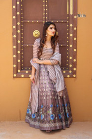 Grey and Coffee color Net Fabric Full Sleeves Floor Length Chanderi Fabric Gown