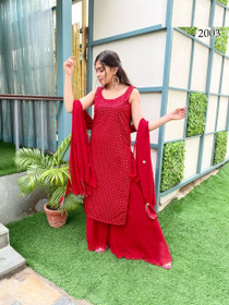 Red color Georgette Fabric Suit