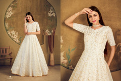 White color Floor Length Net Fabric Gown