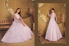 Light Mauve color Floor Length Net Fabric Gown