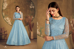 Light Blue color Floor Length Net Fabric Gown