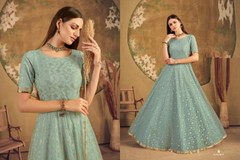 Powder Blue color Floor Length Net Fabric Gown