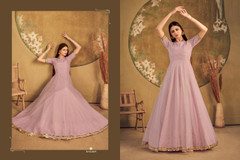 Pink color Floor Length Net Fabric Gown