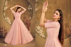Powder Peach color Floor Length Net Fabric Gown