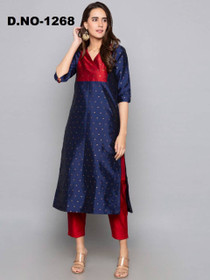Royal Blue and Red color Art Silk Fabric Top and Bottom